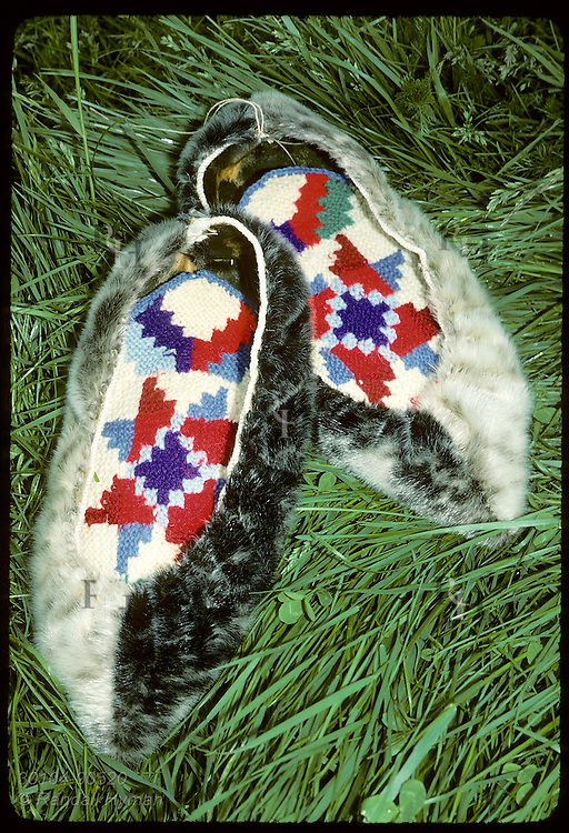 Fine examples of sealskin slippers with decorative 'rosaleppar' inside; Skaftafell National Park Iceland