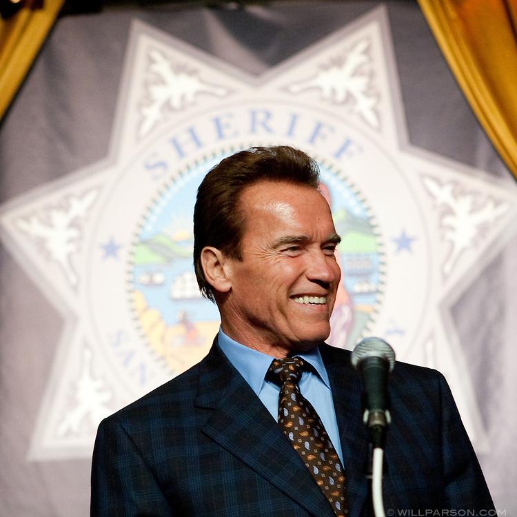 California Governor Arnold Schwarzenegger speaks at the retirement party honoring San Diego Sheriff Bill Kolender.