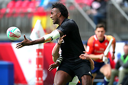 March 9, 2019 - Vancouver, BC, U.S. - VANCOUVER, BC - MARCH 09:  Joe Ravouvou (4) of New Zealand passes the ball while playing France during day 1 of the 2019 Canada Sevens Rugby Tournament on March 9, 2019 at BC Place in Vancouver, British Columbia, Canada. (Photo by Devin Manky/Icon Sportswire) (Credit Image: © Devin Manky/Icon SMI via ZUMA Press)