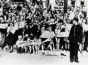 French civilians celebrating the Liberation of Paris in 1944. World War II.
