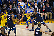Golden State Warriors guard Stephen Curry (30) handles the ball against the Minnesota Timberwolves at Oracle Arena in Oakland, Calif., on January 25, 2018. (Stan Olszewski/Special to S.F. Examiner)