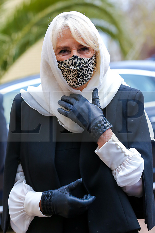 © Licensed to London News Pictures. 07/04/2021. London, UK. Camilla, Duchess of Cornwall wearing a protective face covering and a headscarf arrives at the London Islamic Cultural Society and Mosque (also known as Wightman Road Mosque) in Haringey, north London. The Mosque was formed by a small group of Guyanese Muslims and now supports over 30 different nationalities and community in Haringey and surrounding boroughs. Photo credit: Dinendra Haria/LNP