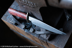 A handmade knife by Lock Baker, made from Damascus steel he hand-forged in his Los Angeles shop. Thursday, June 21, 2018. Photography ©2018 Michael Lichter.