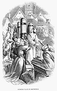 A priest, 4 laymen and 2 women burned at the stake at Smithfield, London, 27 January 1556, for refusing to deny their Protestant belief.  Reign of Mary I (Bloody Mary). Wood engraving 1848.