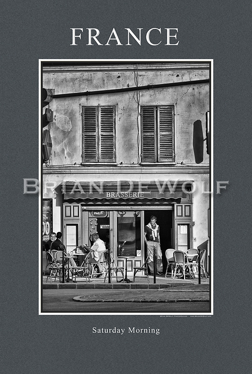"""Saturday morning coffee at the brasserie. 24"""" x 36""""   This poster is  individuallly printed, to order,  on luster poster-weight paper. Price is $50 and can be paid by mail or by Paypal. Order using the Contact Form on this website."""