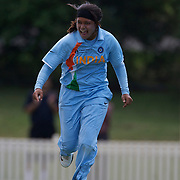 Priyanka Roy celebrates a wicket during the ICC Women's World Cup Cricket play off for third place between Australia and India at Bankstown Oval, Sydney, Australia on March 21, 2009. India beat Australia by three wickets. Photo Tim Clayton