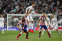 Real Madrid's Jese Rodriguez and Atletico del Madrid´s Joao Miranda during quarterfinal second leg Champions League soccer match at Santiago Bernabeu stadium in Madrid, Spain. April 22, 2015. (ALTERPHOTOS/Victor Blanco)