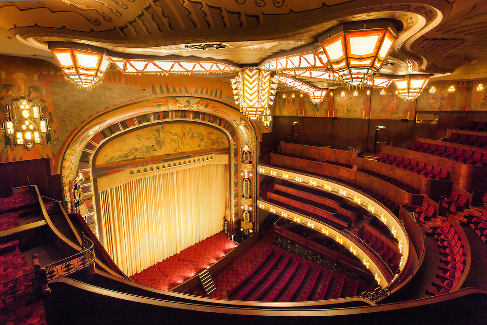 the Tuschinski movie theater in Amsterdam, the Netherlands, built in 1921. The interior and exterior are a spectacular mix of styles, as designed by Hijman Louis de Jong; Amsterdam School, Jugendstil, Art Nouveau and Art Deco.