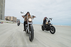 Tracy Herndon, Dana Cooley and the Iron Lillies on the beach for the Hot Leathers ride during the Daytona Bike Week 75th Anniversary event. FL, USA. Tuesday March 8, 2016.  Photography ©2016 Michael Lichter.