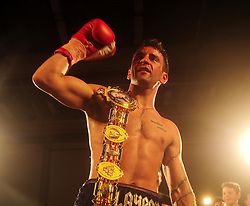 Lee Haskins it announced the winner of the British bantamweight title and celebrates with the belt - Photo mandatory by-line: Dougie Allward/JMP - Tel: Mobile: 07966 386802 27/04/2013 - SPORT - FOOTBALL - City Academy Sports Centre - Bristol - Lee Haskins V Martin Ward - British bantamweight title