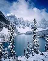 Autumn snowfall on Moraine Lake, Banff National Park Alberta Canada
