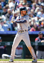 April 8, 2018 - Denver, CO, U.S. - DENVER, CO - APRIL 08: Atlanta Braves Infielder Dansby Swanson (7) bats during a regular season MLB game between the Colorado Rockies and the visiting Atlanta Braves on April 8, 2018 at Coors Field in Denver, CO. (Photo by Russell Lansford/Icon Sportswire) (Credit Image: © Russell Lansford/Icon SMI via ZUMA Press)