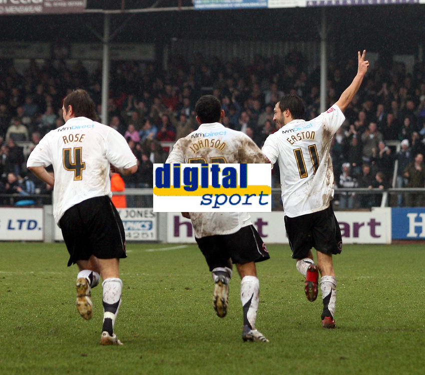 Photo: Mark Stephenson/Richard Lane Photography. <br /> Hereford United v Wycombe Wanderers. Coca-Cola League Two. 15/03/2008. Hereford players celebrate there goal