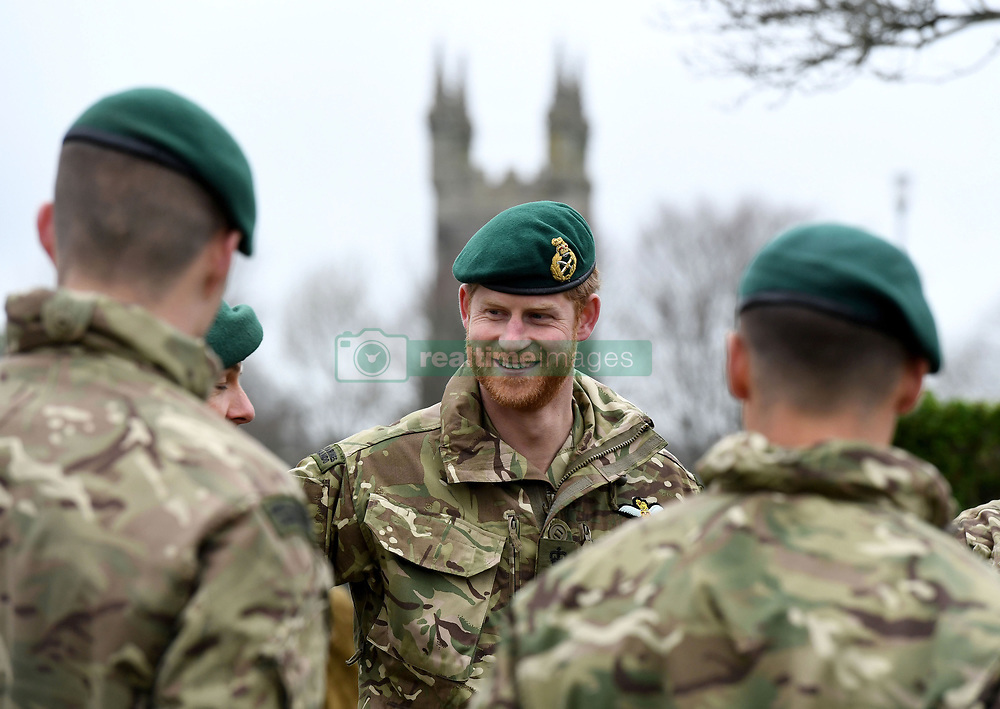 The Duke of Sussex during a visit to 42 Commando Royal Marines at their base in Bickleigh.