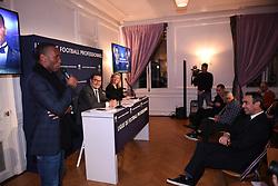 December 14, 2017 - Paris, France - Nathalie Boy de la Tour (presidente LFP) - Didier Quillot (directeur general executif de la LFP) - Didier Drogba - Youri Djorkaeff (Credit Image: © Panoramic via ZUMA Press)