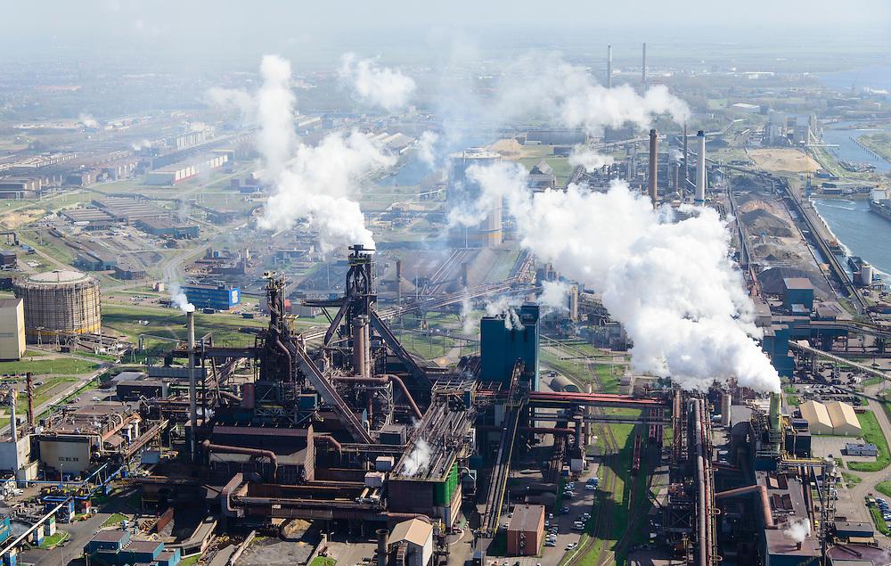 Nederland, Noord-Holland, IJmuiden , 09-04-2014; IJmuiden Steel Works van Tata Steel. De twee overgebleven hoogovens.<br /> IJmuiden Steel Works, part of Tata Steel. <br /> luchtfoto (toeslag op standard tarieven);<br /> aerial photo (additional fee required);<br /> copyright foto/photo Siebe Swart