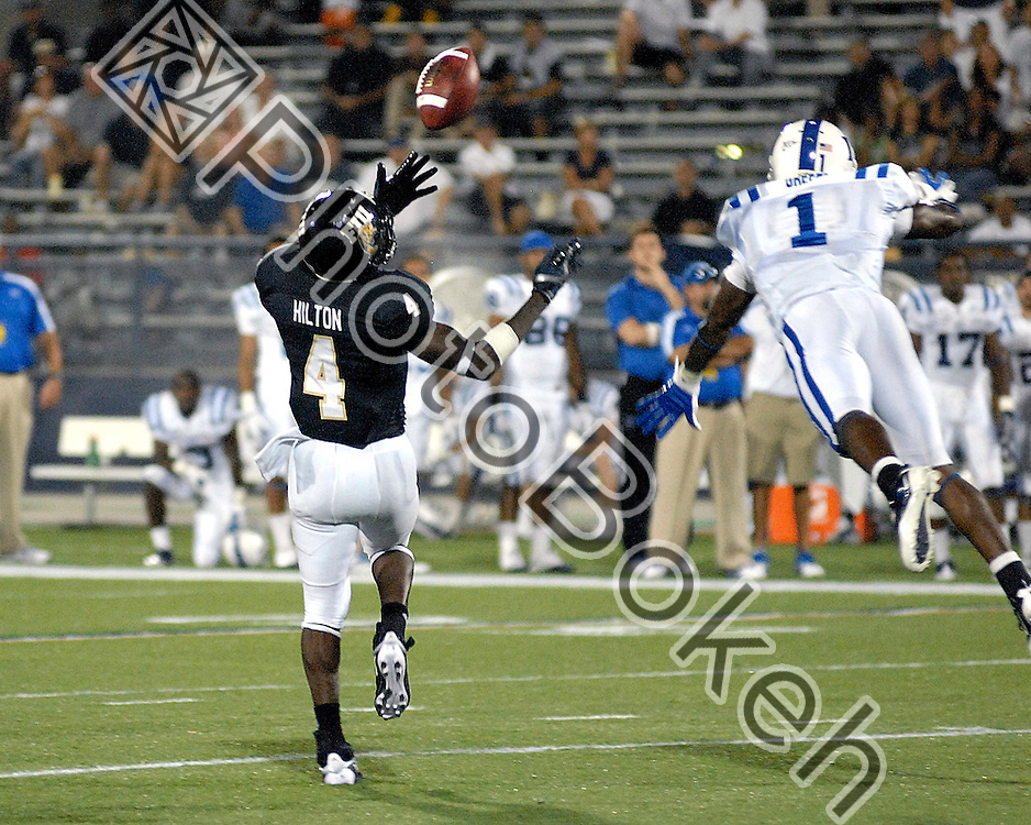 2011 October 01 - Florida International wide receiver T.Y. Hilton (4) attempting to catch a pass. Florida International University Golden Panthers fell to the Duke Blue Devils 31-27, at Alfonso Field at the FIU Football Stadium, Miami, Florida. (Photo by: www.photobokeh.com / Alex J. Hernandez)