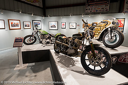 "Kirk Taylor's and Pat Patterson's bikes along with the Icon bike in the ""Built for Speed"" exhibition curated by Michael Lichter and Paul D'Orleans in the Russ Brown Events Center as part of the annual ""Motorcycles as Art"" series at the Sturgis Buffalo Chip during the Black Hills Motorcycle Rally. SD, USA. August 5, 2014.  Photography ©2014 Michael Lichter."