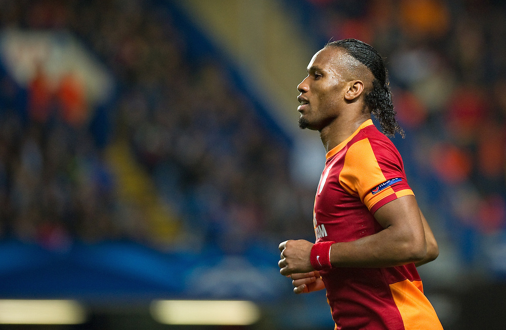 Galatasaray's Didier Drogba in action during the match against Chelsea<br /> <br /> Photo by Ashley Western/CameraSport<br /> <br /> Football - UEFA Champions League First Knockout Round 2nd Leg - Chelsea v Galatasaray - Tuesday 18th March 2014 - Stamford Bridge - London<br />  <br /> © CameraSport - 43 Linden Ave. Countesthorpe. Leicester. England. LE8 5PG - Tel: +44 (0) 116 277 4147 - admin@camerasport.com - www.camerasport.com