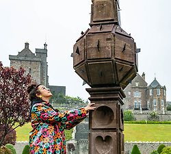 Pictured: Scotland's oldest obelisk sundial resinstated. Drummond Castle, Perthshire, Scotland, United Kingdom, 24 June 2019. On a typically dreich Scottihs day, Scotland's oldest Obelisk Sundial, dating from 1630 and which featured in Sony's Outlander TV Series,  is reinstated as the centrepiece of Drummond Castle Gardens in after 2 years of restoration by Graciela Ainsworth Sculpture Conservation.<br /> Pictured:  Graciela Ainsworth, Sculpture Conservator<br /> <br /> Sally Anderson | EdinburghElitemedia.co.uk