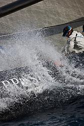 Azzurra (ITA) vs Team Origin (GBR). La Maddalena, Sardinia, June 1st 2010. Louis Vuitton Trophy  La Maddalena (22 May -6 June 2010) © Sander van der Borch / Artemis