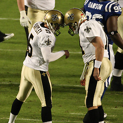 2010 February 07: New Orleans Saints PK Garrett Hartley (5) celebrates with holder Mark Brunell (11) following a field goal during a 31-17 win by the New Orleans Saints over the Indianapolis Colts in Super Bowl XLIV at Sun Life Stadium in Miami, Florida.