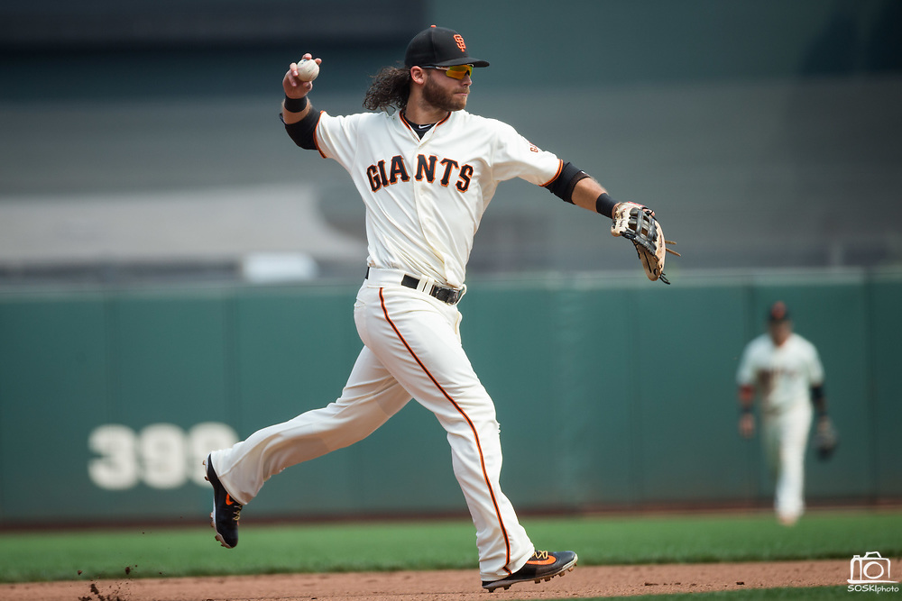 San Francisco Giants shortstop Brandon Crawford (35) fields a St. Louis Cardinals ground ball at AT&T Park in San Francisco, California, on September 3, 2017. (Stan Olszewski/Special to S.F. Examiner)