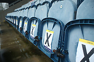 Unused seats due to Covid-19 during the EFL Sky Bet League 1 match between Rochdale and Wigan Athletic at the Crown Oil Arena, Rochdale, England on 16 January 2021.