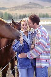 couple feeding horses outdoors