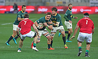 Rugby Union - 2021 British & Irish Lions Tour of South Africa - Second Test: South Africa vs British & Irish Lions<br /> <br /> Jasper Wiese attacks, supported by Franco Mostert, at Cape Town Stadium, Cape Town.<br /> <br /> COLORSPORT / JOHAN ORTON