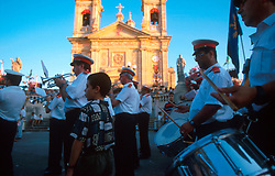 MALTA GOZO SANNAT JUL00 - The Sannat Marching Band passes Sannat Church during Fiesta.. . jre/Photo by Jiri Rezac. . © Jiri Rezac 2000. . Tel:   +44 (0) 7050 110 417. Email: info@jirirezac.com. Web:   www.jirirezac.com