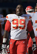 Aug 25, 2017; Seattle, WA, USA; Kansas City Chiefs defensive tackle Rakeem Nunez-Roches (99) reacts during a NFL football game against the Seattle Seahawks at CenturyLink Field. The Seahawks defeated the Chiefs 26-13.