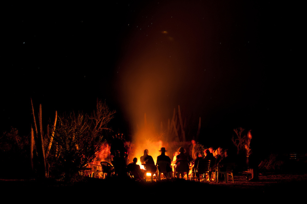 A camp fire amongst the pitayal or organ-pipe cactus at the Navopatia Field Station, Southern Sonora, Mexico.