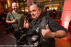 Photographer Horst Roesler at the Indian new bike reveal party at the Hilton Hotel during Daytona Bike Week. Daytona Beach, FL, USA. Friday March 10, 2017. Photography ©2017 Michael Lichter.