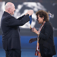 Evonne Goolagong Cawley receives the Order Of Australia during a presentation during the 2018 Australian Open on day 13 in Melbourne, Australia on Friday night January 27, 2018.<br /> (Ben Solomon/Tennis Australia)