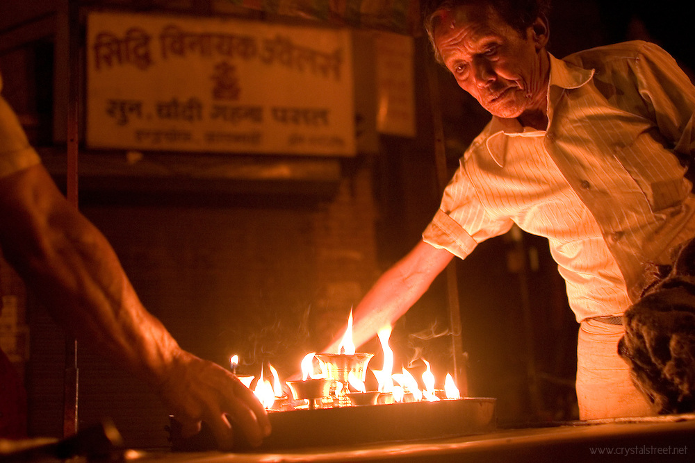 Butter lamps burn nightly at Annapurna as a sign of worship by Tibetans living in Kathmandu. www.crystalstreet.net