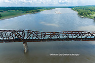 63807-01301 Barge on the Mississippi river and train crossing the Thebes bridge near Thebes, IL