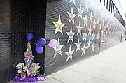 Prince's Star and memorial among wall of stars at First Avenue Nightclub. Minneapolis Minnesota MN USA