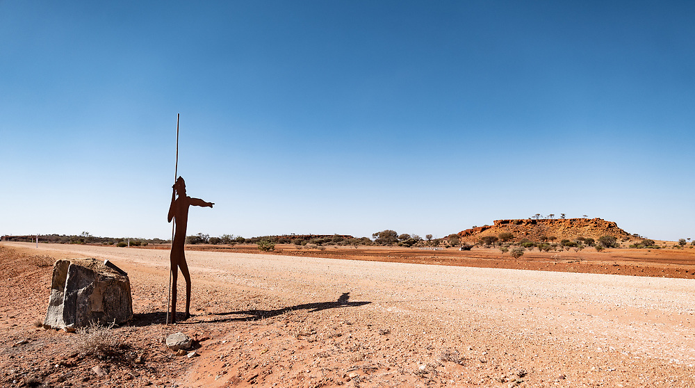 Wajerri Man, representing all Wajerri people points to a place between the breakaways wher the first assessment tests for the observatory were carried out at the SKA's low frequency aperture array antennas in the Murchison region of Western Australia