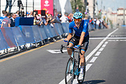 Davide Ballerini, Italy, wins the men's cycling road race during the 2019 Minsk European Games on the 23rd June 2019 in Minsk City in Belarus.