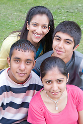 Group of friends in the park together,