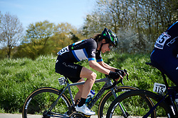Omer Shapira (ISR) in the break at La Flèche Wallonne Femmes 2018, a 118.5 km road race starting and finishing in Huy on April 18, 2018. Photo by Sean Robinson/Velofocus.com
