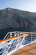 La Pinta Cruise ship with Isabella island in the distance. Galapagos islands, Ecuador, South America