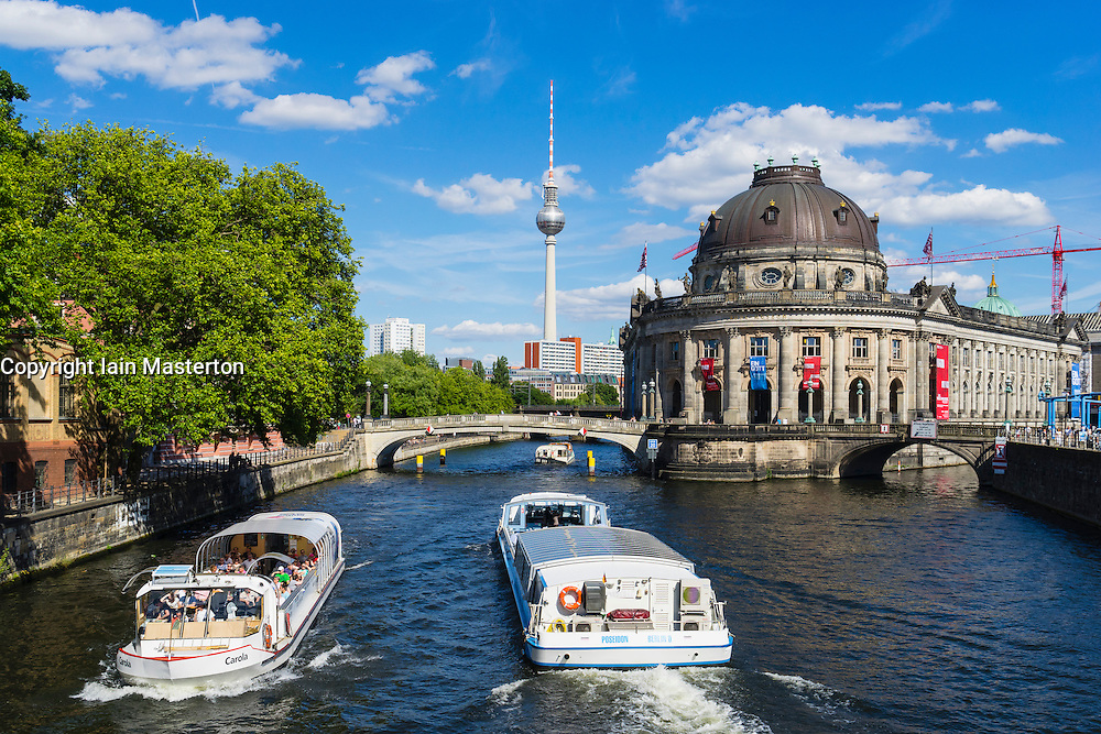 View of Bode Museum and Television Tower or Fernsehturm in Berlin Germany