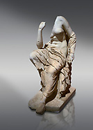 Roman statue of a seated woman . Marble. Perge. 2nd century AD. Inv no 17.7. . Antalya Archaeology Museum; Turkey. .<br /> <br /> If you prefer to buy from our ALAMY STOCK LIBRARY page at https://www.alamy.com/portfolio/paul-williams-funkystock/greco-roman-sculptures.html . Type -    Antalya     - into LOWER SEARCH WITHIN GALLERY box - Refine search by adding a subject, place, background colour, museum etc.<br /> <br /> Visit our ROMAN WORLD PHOTO COLLECTIONS for more photos to download or buy as wall art prints https://funkystock.photoshelter.com/gallery-collection/The-Romans-Art-Artefacts-Antiquities-Historic-Sites-Pictures-Images/C0000r2uLJJo9_s0