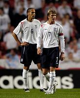 Fotball<br /> England 2005/2006<br /> Foto: SBI/Digitalsport<br /> NORWAY ONLY<br /> <br /> Danmark v England<br /> <br /> International Friendly. 17/08/2005.<br /> <br /> England's David Beckham (R) and Rio Ferdinand are left shell-shocked as Denmark score three goals in close succession.