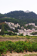 grenache vineyard the village seen from domaine de longue toque gigondas rhone france