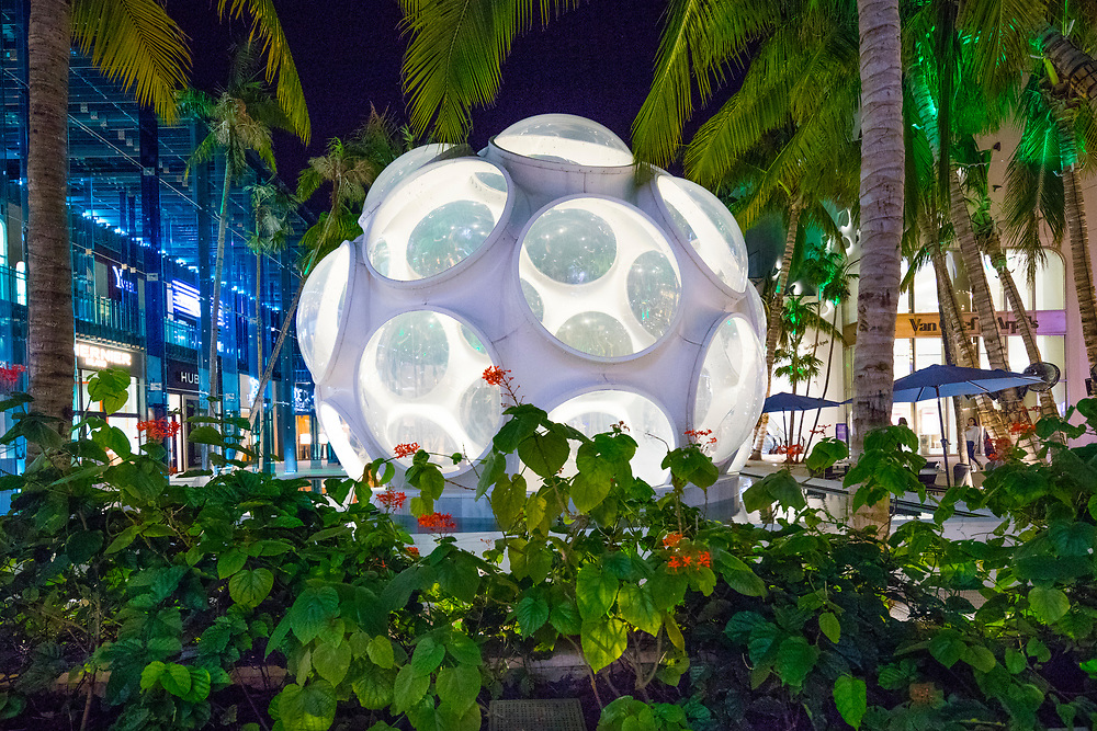 A Mid-Century Modern geodesic dome designed by Buckminster Fuller and transplanted into the Miami Design District's up-scale Palm Court shopping plaza somehow manages to look both retro and futuristic.