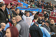 Aston Villa fans show their 'Lerner out' scarves before the match.<br /> Barclays Premier League match, Aston Villa v AFC Bournemouth at Villa Park in Birmingham, The Midlands on Saturday 09th April 2016.<br /> Pic by Ian Smith, Andrew Orchard Sports Photography.