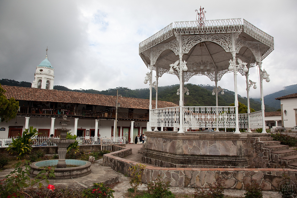 """""""La Plaza in San Sebastian 2"""" - This plaza was photographed in the small mountain town of San Sebastian, Mexico."""